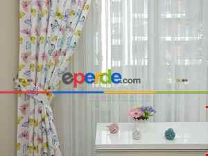 Kelebek Desenli Kız Bebek Ve Çocuk Odası Fon Perde Modelleri- Sarı-Beyaz-Turkuaz-Pembe