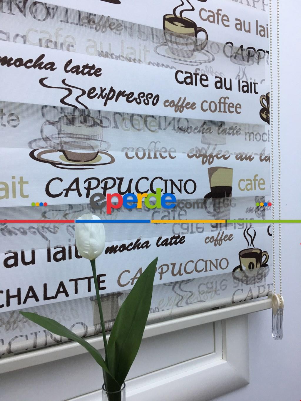 Mutfak Zebra Perde Cappuccino Desenli Zebra Perde - Kahve-gold