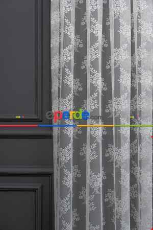 Fransız Dantel Tül - Çiçek Motifli - Ütü İstemez- Ekru