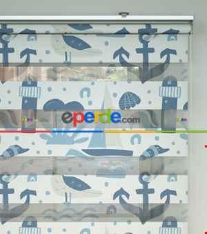 Bebek Odası Zebra -  Denizci Desenli Baskılı Zebra Perde- Mavi-Çok Renkli-Kum Beji