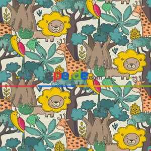 Tropikal Orman Ve Hayvan Desenli Fon Perde Evm690 Kumaşı Kalındır Duck Bezi Değildir- Yeşil