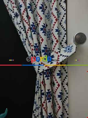 Geometrik Desenli Fon Perde ( Leke Tutmaz )- Siyah-Mavi-Kırmızı