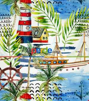 Deniz Feneri Baskılı Stor Perde- Yeşil-mavi-kırmızı-beyaz