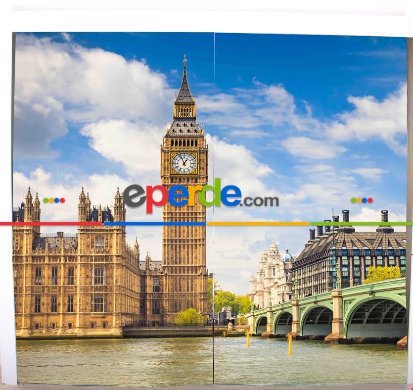 Londra Saat Kulesi Resimli Fon Perde Takılmaya Hazır 2 Kanat - Kumaşı Kalındır- Güneş Işığını Azaltır 260cm X 270cm