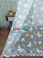 Kelebek Desenli Kız Çocuk Odası İçin Tül Perde Ekru