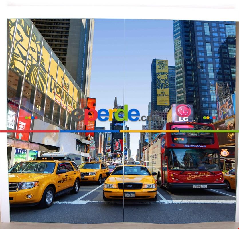 New York Resimli Fon Perde Takılmaya Hazır 2 Kanat - Kumaşı Kalındır- Güneş Işığını Azaltır 260cm X 270cm