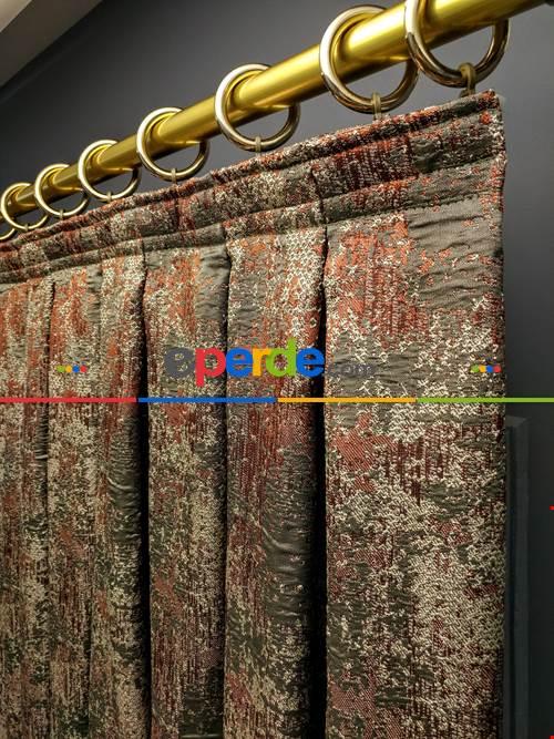 Modern Desenli Jakarlı Fon Perde Yeni Seri 401- Gri-füme-antrasit-füme-haki-kiremit Rengi