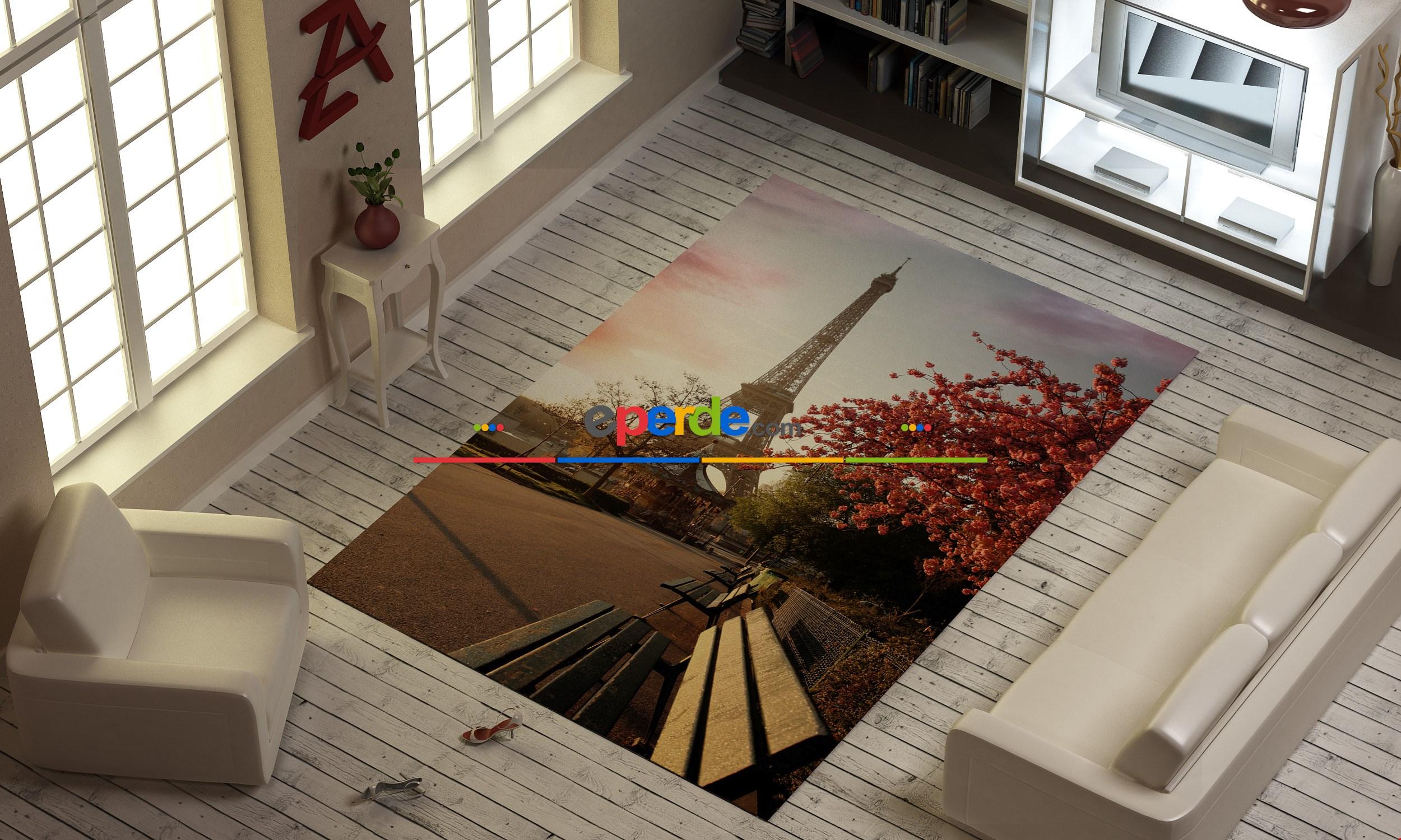 Paris Eyfel Kulesi Baskılı Halı
