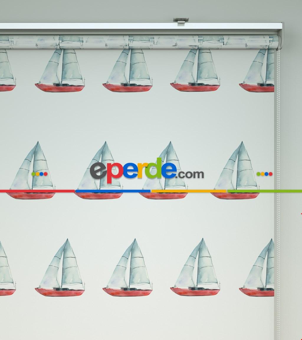 Yelkenli Baskılı Stor Perde- Mavi-kırmızı-beyaz