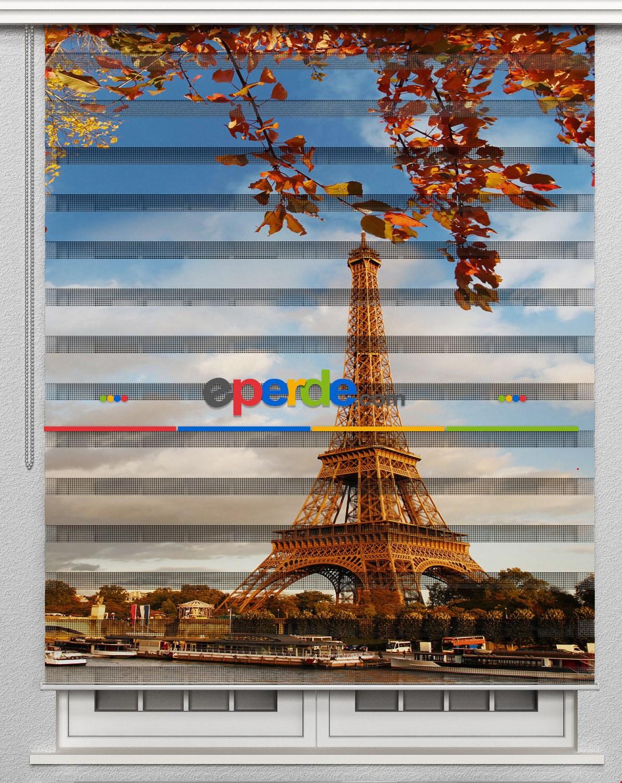 Paris Eyfel Kulesi Özel Poster Baskılı Zebra Perde
