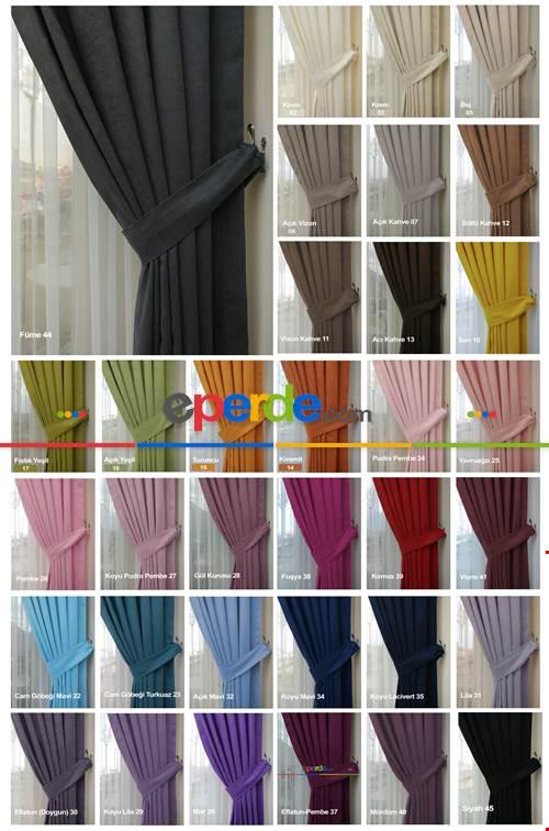 Düz Fon Perde 35 Renk Kadifemsi İpek Gibi Yumuşak Gramajı Yüksek Dökümlü- Çok Renkli
