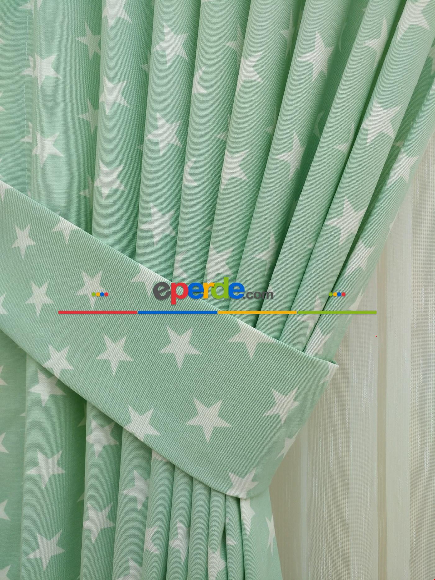 Mint Yeşili Yıldız Desenli Fon Perde ( Leke Tutmaz )