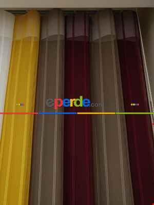 1. Kalite Çizgili Tül Dikey Zebra Perde - Ft-35 Bordo , Ft-09 Elegans , Ft-16 Hardal , Ft-02 Ekru- Bordo-ekru-sütlü Kahve-hardal Sarısı