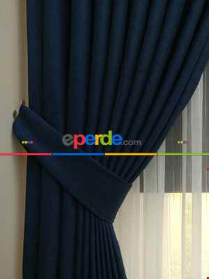 Salon Perdesi - Koyu Petrol Mavi - Düz Keten Fon Perde ( En 180cm Keten Fon Perde)- Mavi Koyu