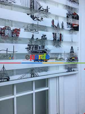 Mutfak - İstanbul Desenli Zebra Perde Siyah-kırmızı- Siyah-Kırmızı Koyu