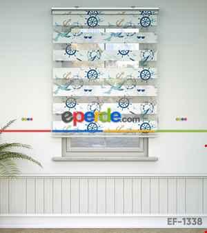Çocuk Odası Zebra - Denizci Desenli Baskılı Zebra Perde- Mavi-Çok Renkli-Camel