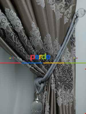 Salon Fon Perde - Fon Perde - Gri Rengi - Damask Desenli- Gri-Füme-Antrasit