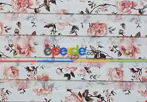 Gül Kurusu Çiçek Desenli Zebra Perde- Beyaz-Kahve Açık-Gül Kurusu