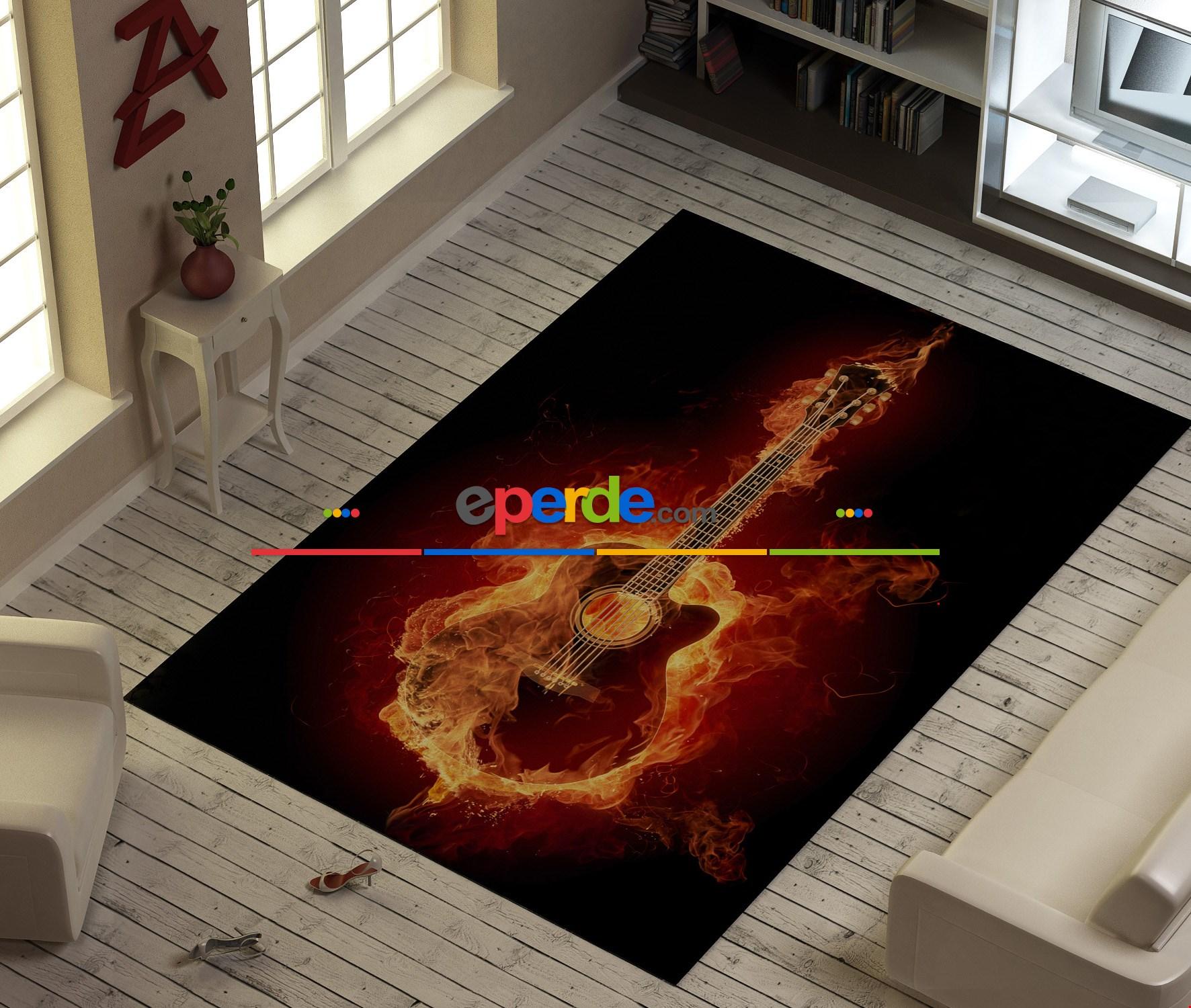 Alevli Gitar Baskılı Halı