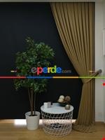 Gri Düz Renk Dökümlü Fon Perde (150)- Gri Haki