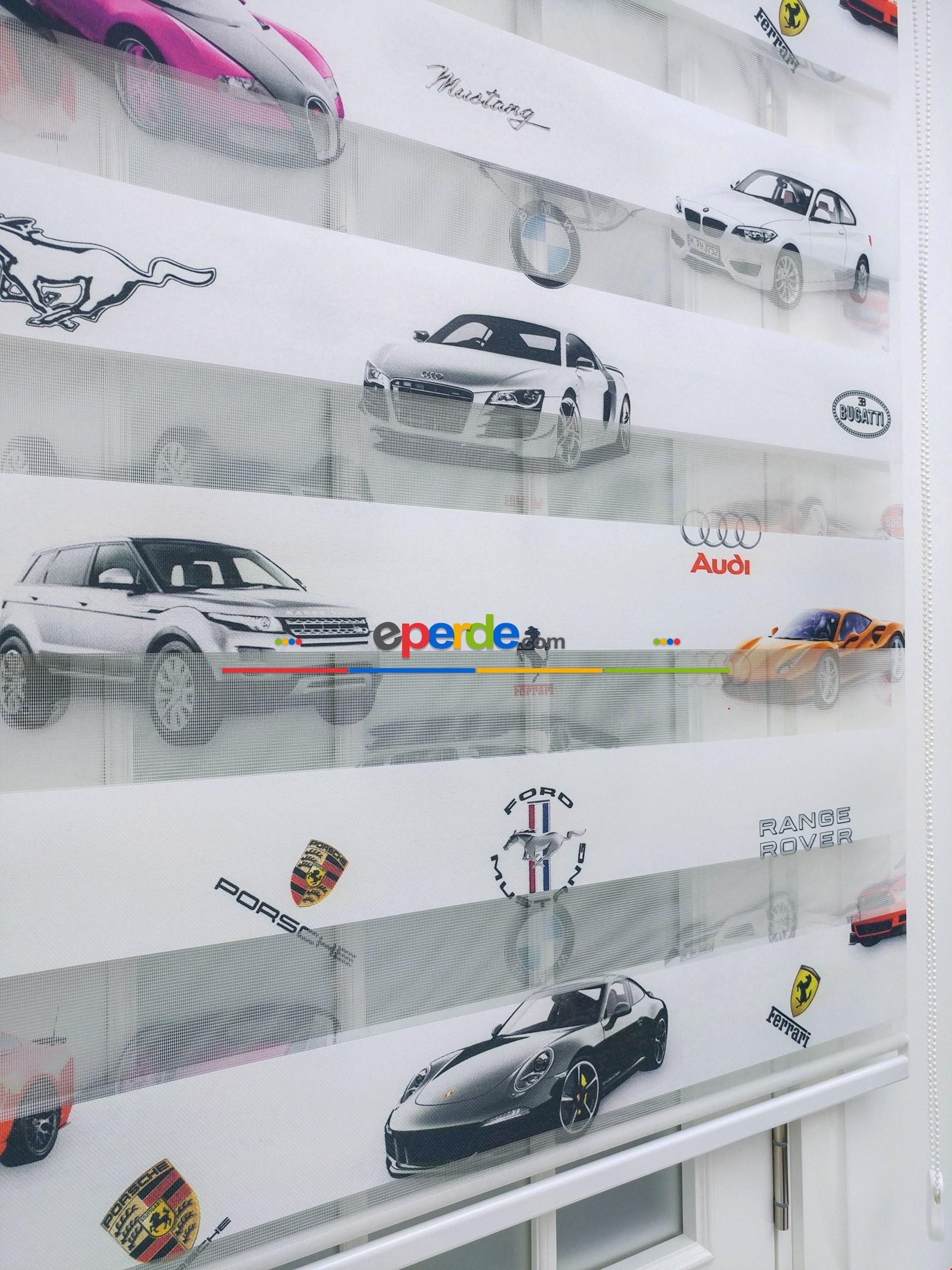 Arabalar Baskılı Erkek Çocuk Odası Zebra Perde