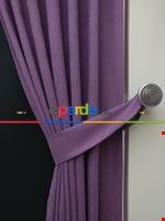 Gri Düz Renk Dökümlü Fon Perde (150)- Gri Lila