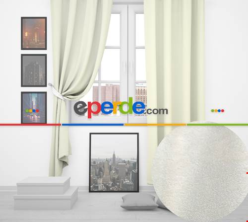 Beyaz Ada Fon Perde 35 Renk Seçeneği 150x260 Perle Home Elegance Series