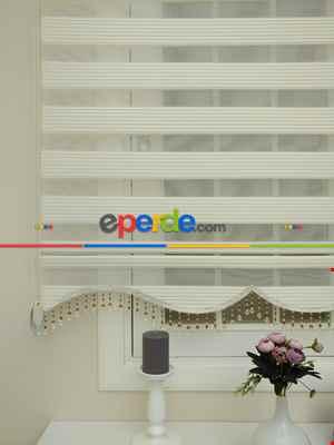 Krem - Ekru Renk Plise Zebra Perde (kalın Zeminli)- Krem Açık-ekru