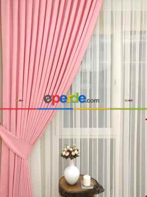 Pembe Renk Düz Sade Fon Perde ( En 150cm Dökümlü Fon )- Pembe Açık