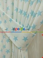Yıldız Desenli Fon Perde ( Kalın Pamuklu Kumaş ) Mavi Açık