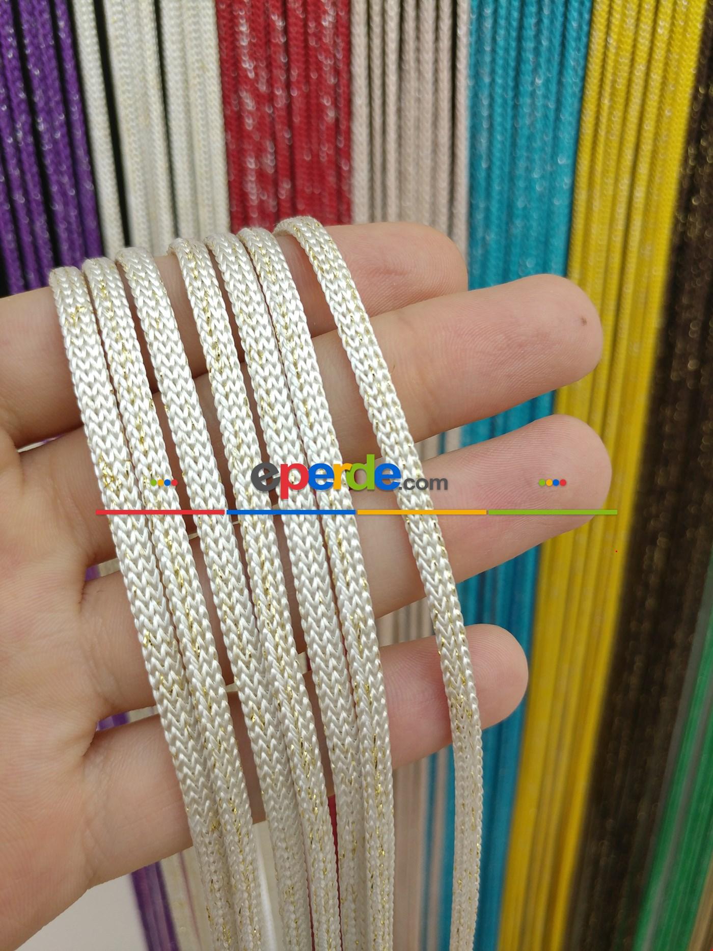 Gri Rengi Simli İp Perde Jumbo Zincir Serisi Beyaz - Altın