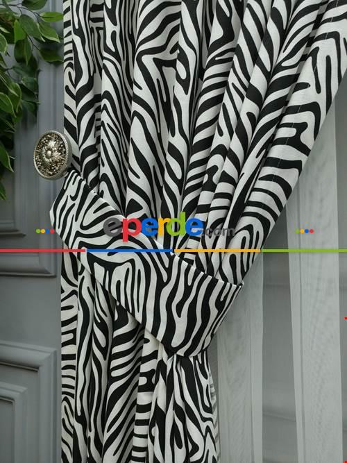 Zebra Çizgili Fon Perde ( Leke Tutmaz )- Siyah-Ekru