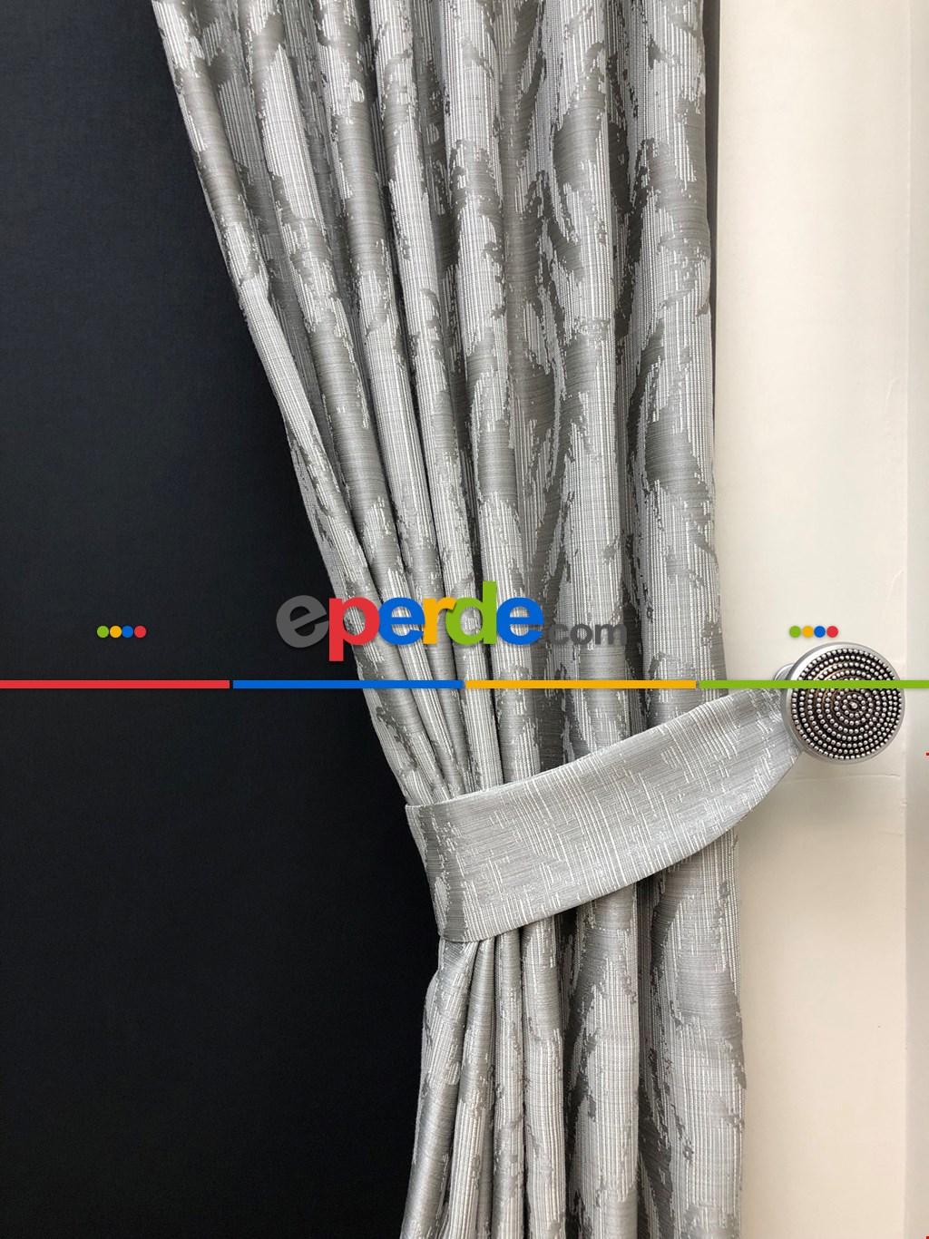 Salon Perdesi - Açık Gri Desenli Jakar Fon Perde (geniş En:280 Kumaş)- Gri Açık