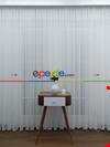 Ekru Fransız Dantel Düz Tül Perde Etek Ucu Nakış İşlemeli