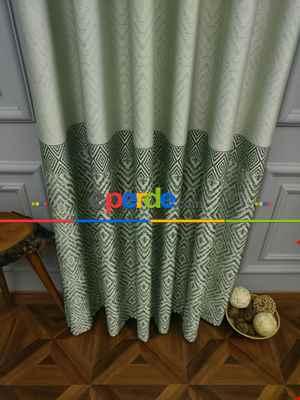 Modern Pano Fon Perde Bantlı Çift Renk - 501- Yeşil-Bej-Haki