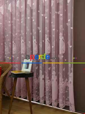 Çocuk Odası Tül Perde - Pembe Tül Perde Sindirella- Pembe