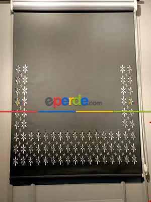 2021 Lazer Kesim Desenli Siyah Stor Perde-04