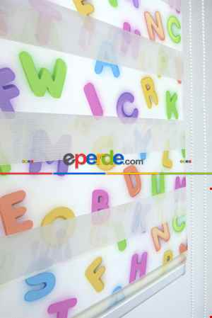 3 Boyutlu Dijital Harf Baskılı Çocuk Odası Zebra Perde Alfabe-11- Yeşil-mavi-mor
