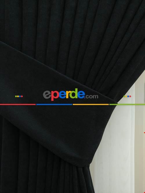 Siyah Düz Sade Fon Perde ( En 150cm Dökümlü Fon )