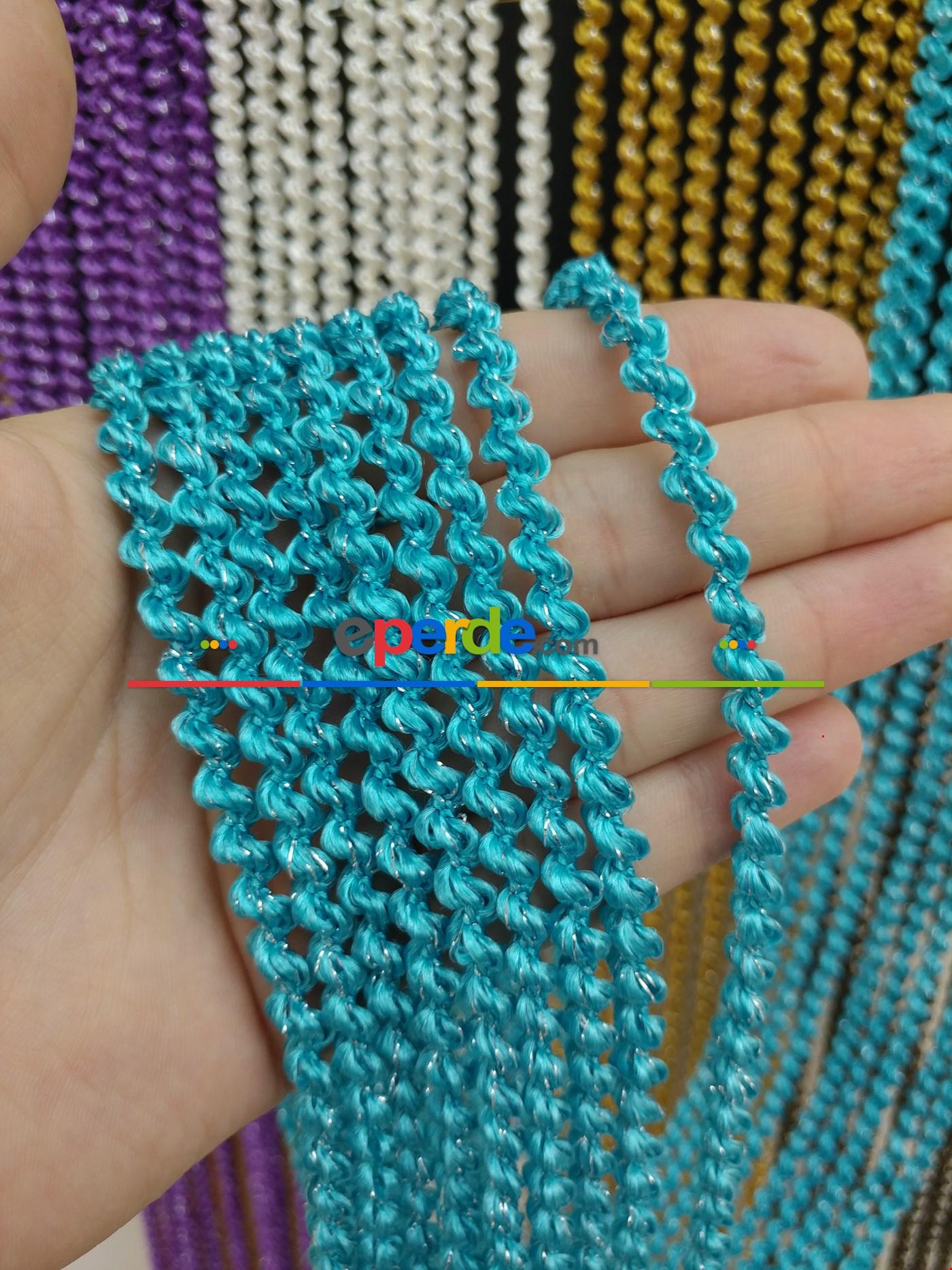 Bej Rengi İp Perde Bukle Serisi Mavi - Gümüş