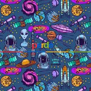 Çocuk Odası Fon - Uzay Desenli Fon Perde K734 Kumaşı Kalındır Duck Bezi Değildir.- Mavi