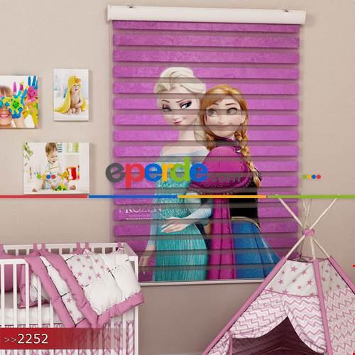 Elsa Ve Anna Özel Poster Baskılı Zebra Perde