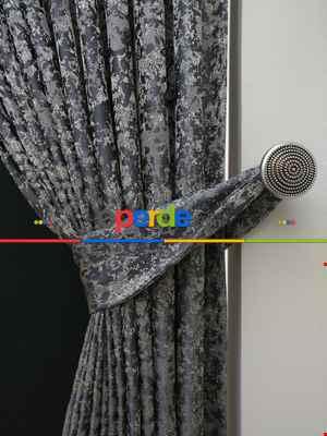 Salon Perdesi - Krem Antresit Desenli Jakar Fon 285- Turkuaz Yeşili Ara Renk