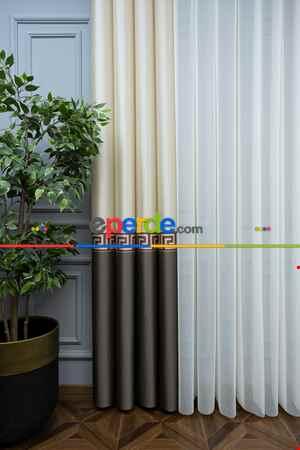 Lens Akıllı Dikey Tül Perde Versace-44- Çok Renkli 2