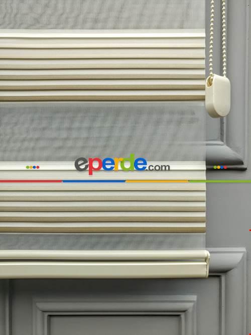 2021 Sezonu - Degrade Renk Geçişli Geniş Pileli (plise) Perde- Vizon Rengi-Ekru-Kahve- Çok Renkli 3
