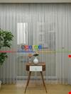 Toz Gri Düz Döner Gücü Tül Perde Pırıltılı 2019 Home Coolectıon
