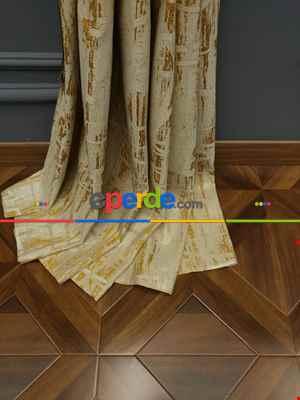 Modern Desenli Jakarlı Fon Perde Yeni Seri 101- Bej-gri Açık-roze Gold