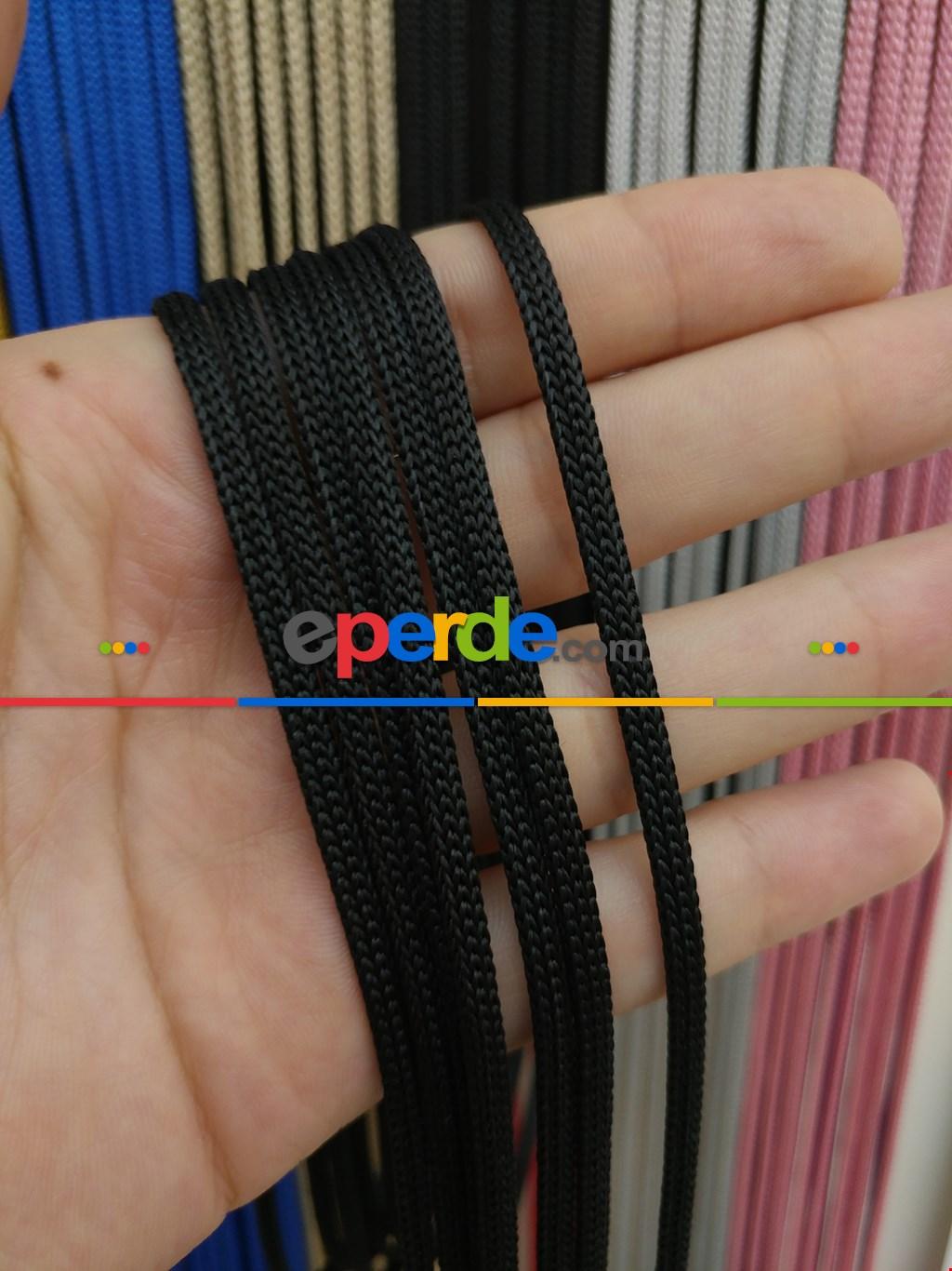 Siyah Rengi İp Perde Jumbo Zincir Serisi- Siyah