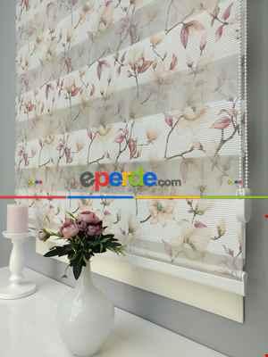 Salon Zebra Perde - 2021 Sezonu - Zebra Perde - Dijital Baskılı Çiçek Desenli Zebra Perde- Bej