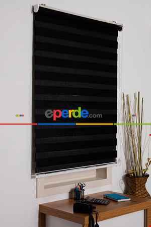 Salon Zebra Perde -İndirimli!!! Zebra Perde Siyah Bambu Ozel Fiyat- Siyah